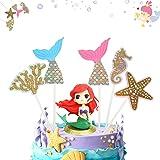Decoración de pastel de sirena 6 Piezas cake topper de sirena topper Torta de Sirena Decoración para Fiesta en el Mar, Fiesta