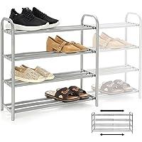 GUANJUNE Organisateur de porte-chaussures extensible à 4 niveaux,L'étagère en métal robuste peut contenir jusqu'à 20…