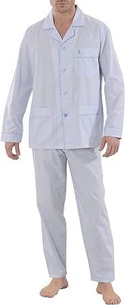 El Búho Nocturno - Striped Poplin Lapel Men's Long Pajamas Light Blue 60% Cotton 40% Polyester Size 2 (S)