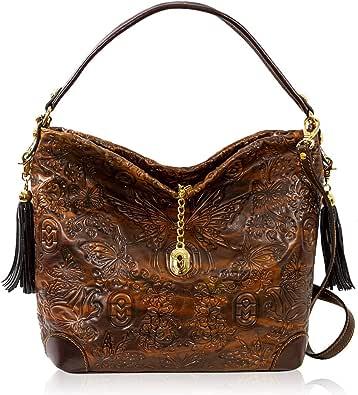 Marino Orlandi - Borsa a tracolla da donna di design italiano, in vera pelle, con manico in bronzo anticato, design a conchiglie