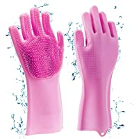 Horlite Silicone Non-Slip, Dishwashing and Pet Grooming, Magic Latex Scrubbing Gloves for Household Cleaning Great for…