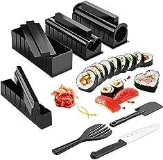 Sushi Maker Kit, AGPTEK 2018 Newes Upgrade 10 tlg Komplett Sushi Making Kit, 5 Formen DIY Selber Sushi Machen Set mit hochwertigem Sushi Messer, Perfekt für Selbst Sushi DIY auch als Geschenk