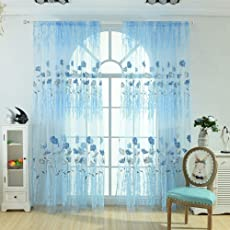 Tomtopp 1pc Offset Printing Sheer Curtain Yarn Tulle Window Blind Screen Voile Panel 3.28X6.5ft