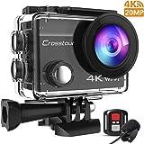 Crosstour CT8500 Action Cam 4K 20MP Webcam PC Mode WIFI con EIS Subacquea 40M Action Camera con Microfono Esterno e Telecomando