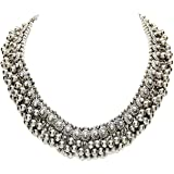 Shining Diva Fashion Latest Oxidised Silver Traditional Boho Design Choker Necklace for Girls (Silver) (12134np)