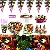 YUIP 94 Piezas Masha y el oso Tema Suministros Vajilla de Fiesta Set, Juego Vajilla Fiesta Cumpleaños Papel, Platos Mantel Se