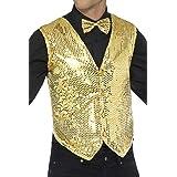"Smiffys 42937L Sequin Waistcoat, Gold, L - Size 42""-44"""