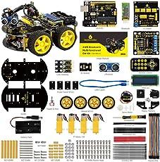 KEYESTUDIO Smart Robot Car Kit UNO R3 Starter Kit für Arduino mit UNO R3 Board, Line Tracking Modul, Ultraschallsensor, Bluetooth Modul Kit Auto Roboter Spielzeug für Erwachsene und Kinder