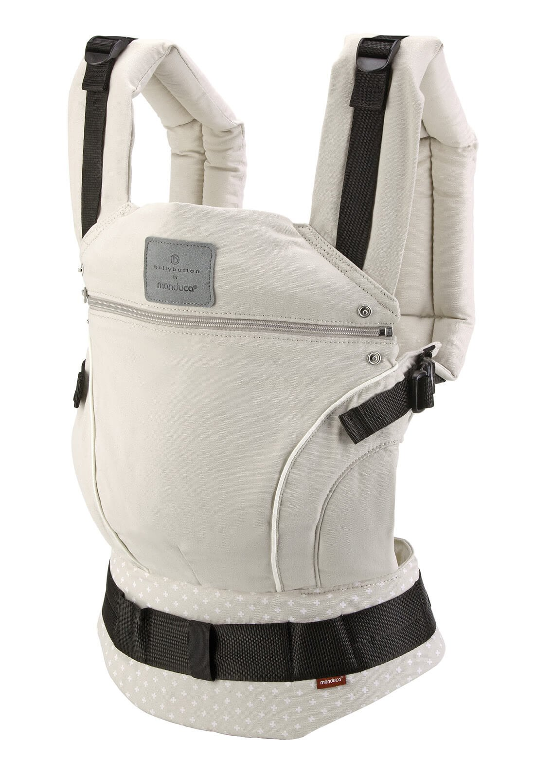 manduca First Baby Carrier > Bellybutton by manduca Edition, WildCrosses Sand < Child Carrier with Ergonomic Waist Belt & Patented Back Extension, Newborn to Toddler Manduca The anatomical shape of your belt makes all the weight to be on the hip, while the back, neck or shoulders of the person who takes padezcan The Manduca 222 Backpack allows you to position the child in front, behind or on the hip, always looking at the person who takes you The backpack also features a concealed hood and shades that can be to child's head when sleeping or to protect it from the sun and rain 4