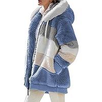 Buhui - Cappotto in pile da donna, aperto sul davanti, con tasche, soffice giacca Sherpa, felpa con cappuccio con…