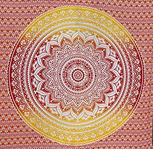 fairdecor Rouge Orange ombre Mandala Tapisserie Hippie mur tapisseries bohème tapisseries Mandala Queen Home Decor