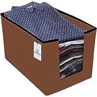 Kuber Industries Non Woven Shirt Stacker Wardrobe Organizer Set, Brown-CTLTC31835