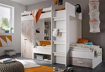 Lifestyle4living Hochbett, Jugendzimmer, Kinderzimmer, Jugendzimmermöbel,  Kinderzimmermöbel, Sandeiche, Weiß, Etagenbett