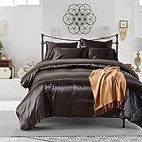 HYSENM Parure de lit Satin Lisse Housse de Couette avec Taie d'oreiller Confortable Soyeux Brillant Doux au Toucher, Noir 200
