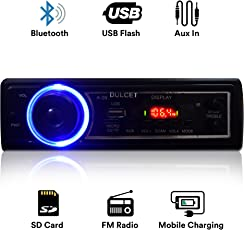 Dulcet DC-A-09 Fixed Panel Single Din MP3 Bluetooth/USB/FM/AUX/MMC Car Stereo with Premium 3.5mm AUX Cable