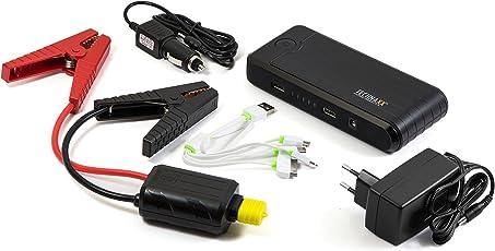 Technaxx Jump Starter 10000mAh TX-78, Power Bank, Akku Ladegerät, Auto Starthilfe, Notlicht, für KfZ Aller Art geeignet, SGS TÜV geprüft