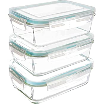 Utopia Kitchen Glass Food Storage Container Set - 6 Pieces (3 Containers + 3 Lids) - Transparent Lids - BPA Free - for Home Kitchen or Restaurant