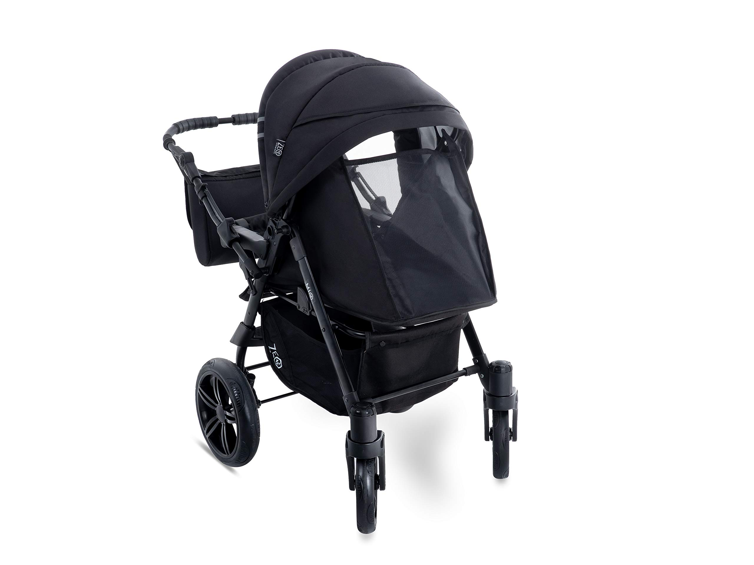 Baby Pram Zeo Mio 3in1 Set - All You Need! carrycot Gondola Buggy Sport Part Pushchair car seat (M1)  3 in 1 combination stroller complete set, with reversible handle to the buggy, child car seat or baby carriage Has 360 ° swiveling wheels, two-fold suspension, four-stage backrest, five-position adjustable footrest and a five-point safety belt The stroller can be easily converted into other functions and easy to transport 8