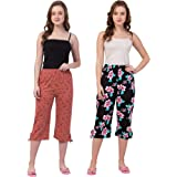 Fflirtygo Women's Cotton Capri for Women, 3/4th Night Pants for Women Combo, 3/4th Pajama (Prints and Colours May Vary)