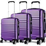 Kono Set 3 Valises Voyage Rigide léger Ensemble de Bagages Trois pc 4 Roues Trolley 360 degrés Bagage Cabine (Violet)