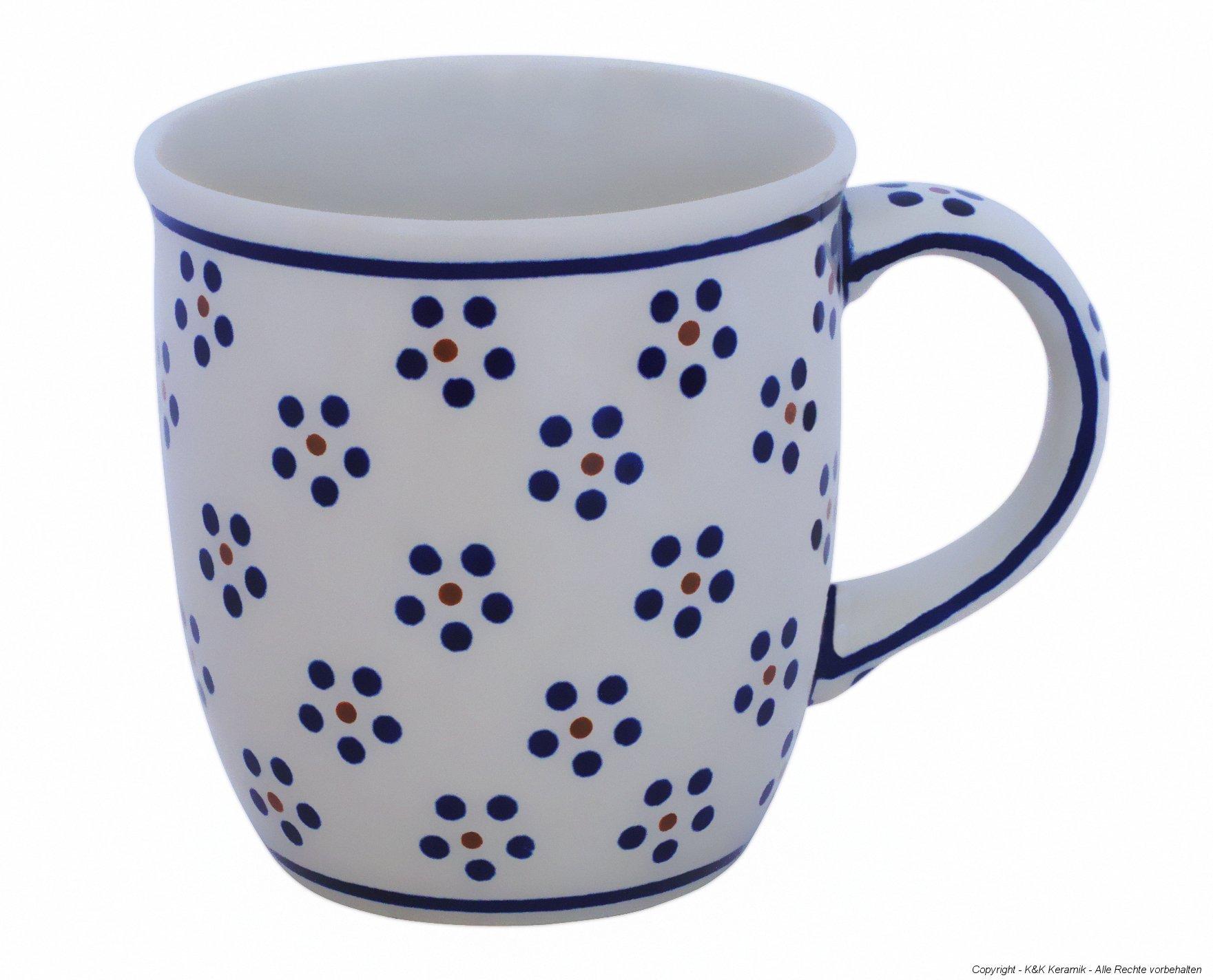 Boleslawiec Pottery Mug with round handles, 0.35 L, Original Bunzlauer Keramik, Decor 1