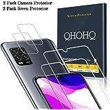 QHOHQ 2 Pièces Protection écran pour Xiaomi Mi 10 Lite 5G (Pas pour Mi Note 10 Lite) avec 2 Pièces Caméra Protection écran, Verre Trempé Membrane [9H Dureté] - HD - [Anti-Rayures]