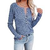 Femmes Tops à Manches Longues Casual Coul en V Henley Chemises Bouton Blouses T-Shirt col V à Manches Ample Décontracté Chemi