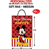 wow party studio personalized mickey mouse theme birthday party goodie bag design #2 with birthday boy/girl name (10 pieces)-