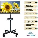 Smart Shelter Foldable Height Adjustable Pedestal Mobile TV Trolley/Stand/Mount (100% Made of Metal)
