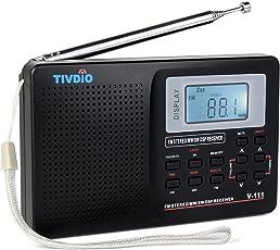 Tivdio V-111 Portable Radio Am/Fm/Sw Dsp Shortwave Battery Powered World Band Pocket Travel Transistor Stereo Receiver with Digital Alarm Clock and Sleep Timer (Black)