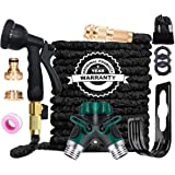 AILUZE Garden Hose Pipe -100Ft Flexible and Durable 4-Layers Latex Water Hose/8 Function Spray Nozzle/2-Way Pocket Flexible S