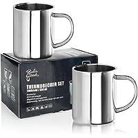 Robin Goods® 2X Ensemble de Tasses Thermo en Acier Inoxydable - 350 ML par Tasse à café - Tasse à Boire Thermo en Acier…