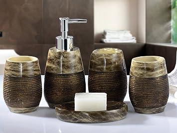 Yiyida, set da 5 accessori per il bagno (2 bicchieri, 1 erogatore ...