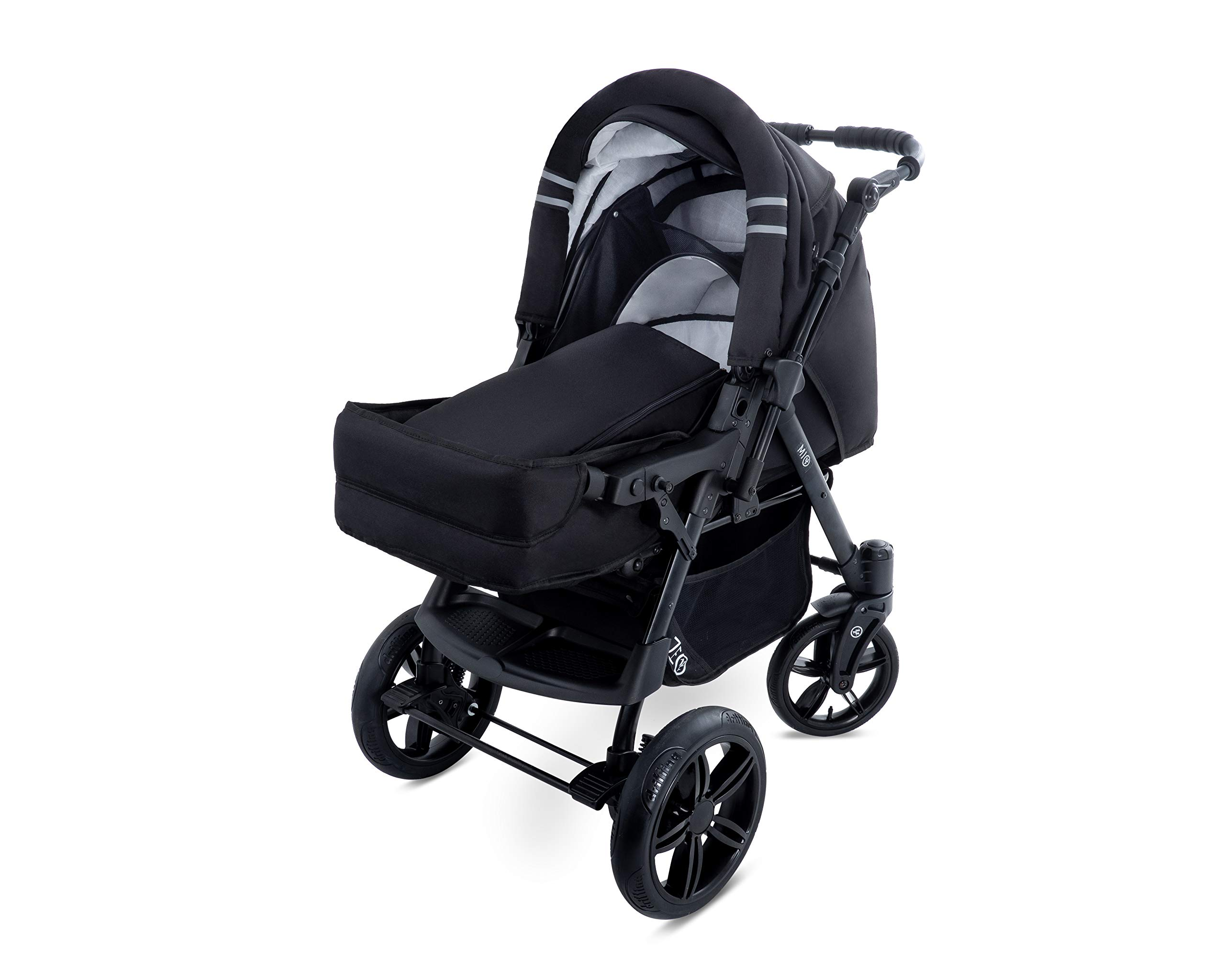 Baby Pram Zeo Mio 3in1 Set - All You Need! carrycot Gondola Buggy Sport Part Pushchair car seat (M1)  3 in 1 combination stroller complete set, with reversible handle to the buggy, child car seat or baby carriage Has 360 ° swiveling wheels, two-fold suspension, four-stage backrest, five-position adjustable footrest and a five-point safety belt The stroller can be easily converted into other functions and easy to transport 5