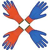 2 pares de guantes de jardinería para niños de 2 a 3 años, de 4 a 5 años y de 6 a 13 años de edad, con revestimiento de goma