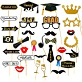 Dsaren 28 Piezas Graduation Photo Booth Props 2020 Glitter Gafas Bigotes Sombrero Graduacion Cabina de Fotos con Accesorios p
