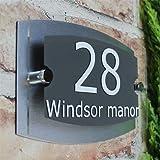 Placa exterior moderna acrílica número de puerta, dirección, signo en casa efecto cristal # 01, gris