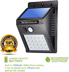 Die Hard(TM) , Solar LED Sensor Light with 20 LED's - Ultra Bright - Waterproof and Two Lighting Modes - Outdoor Motion Activated Power Lamp Stick Up Wireless Security IN Night for Outdoor/Garden Wall Led Home Garden, Balcony, Main Door Other Areas (Black Colour)