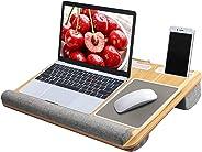 HUANUO Laptopunterlage mit Mausunterlage & Handgelenkauflage, für max. 17 Zoll Notebook, MacBook, inkl. Tablet- und Telefonhalter