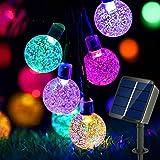 Led Lichterkette Solar Aussen Auting 50 LEDs Kugeln Lichterkette Bunt 9M Kristall 8 Modi Außenlichterkette Wasserdicht Krista