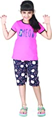 V D Sales, Printed Cotton T-Shirt & Shorts/Capri / Bermuda/for Casual Or Sleepwear for Girls