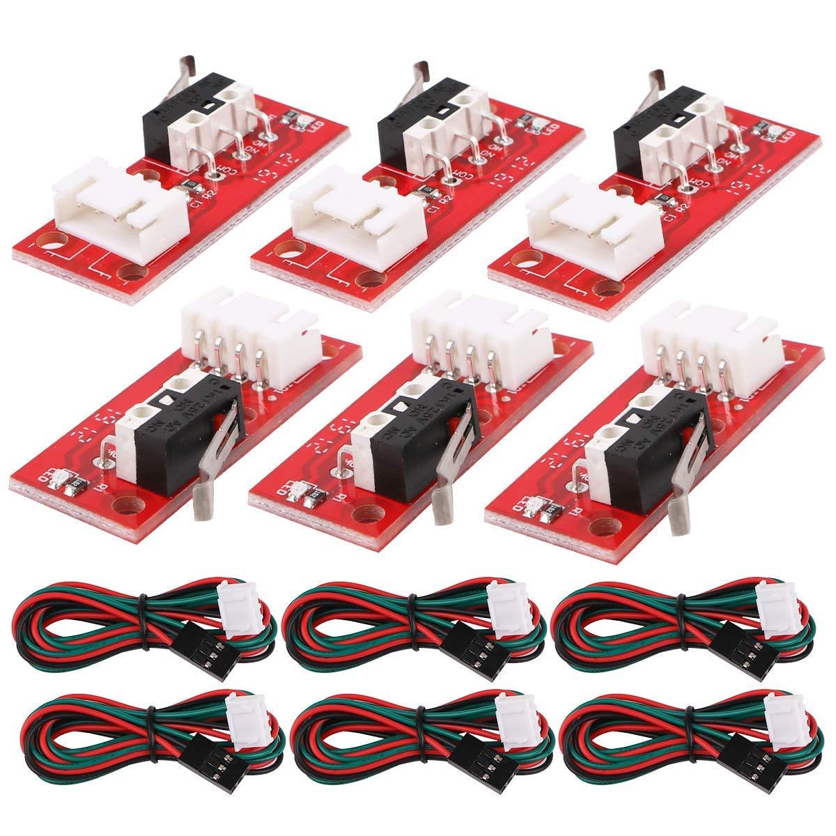 Innovateking-EU 6Pcs Interrupteur de Fin de Course mécanique avec câble 3Pin 70cm 22AWG pour imprimante 3D Makerbot Prusa Mendel RepRap CNC Arduino Mega 2560 RAMPS 1.4 LKB01