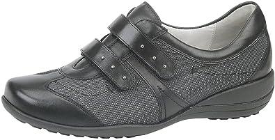 Waldlaufer Womens Katja-Soft Black Leather Shoes 40.5 EU Q5ZCfTqlFN
