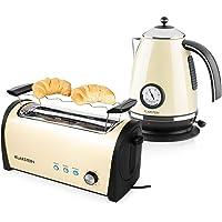 Klarstein Set Petit-déjeuner (Bouilloire 2200 W de 1.7l, Grille-Pain 4 tranches de 1400 W, Fonctions décongélation et réchauffage) - crème