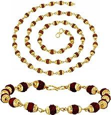 Ashvi - Stainless-Steel Gold Plated Wheat Cutt & Kadaa Bracelet-For-Men