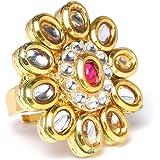 Zaveri Pearls Gold Tone Kundan Flower Wedding Collection Finger Ring For Women-ZPFK9627