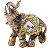 Akozon Elephant Statue Lucky Feng Shui Green Elephant Statue Sculpture Wealth Figurine Gift Home Decoration(M)