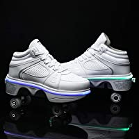 YXHUI Chaussures A roulettes, LED Deform Wheels Skates, Roller Shoes Casual Sneakers, Walking Skates Hommes Femmes…