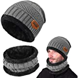 Yuson Girl Cappello Uomo invernale Berretti e Sciarpe Uomo con sciarpa Uomo Berretti in maglia