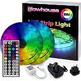 Premium LED-remsa lampor – ny 2021-modell Glowhouse UK – 10 meter RGB färgändrande ljusremsa med fjärrkontroll. Vattentät ino